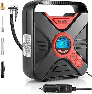 WindGallop Digital Car Tire Inflator Portable Air Compressor for Car Tires 12v Car Air Pump Tire Pump with Pressure Gauge LED Light Valve Adaptors for Bike Automobiles Basketball Pool Toys (Red): image