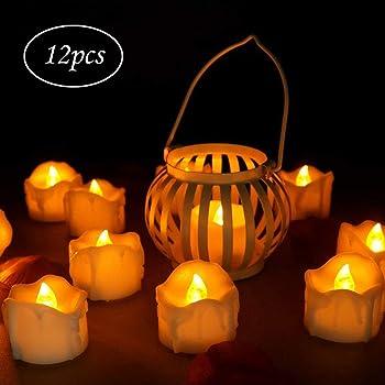 innislink LED Kerzen, LED Flammenlose Kerzen mit Timerfunktion 12pcs Teelichter Flackern Elektrische Kerze Lichter Batterie Dekoration für Weihnachtsbaum Ostern Hochzeit Party - Weiß