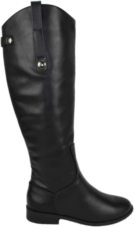 City Classified Women Flat Buckled Riding Boots Zipper Knee High BIZARRE