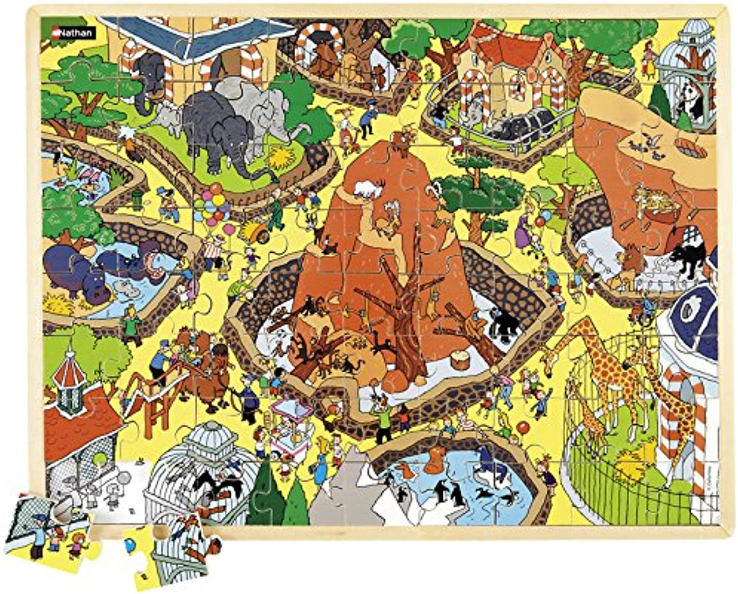 Nathan 387132 63 Pieces The Zoo Large Wooden Jigsaw Puzzle, Multi color