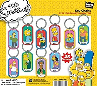 LOT OF 12 THE SIMPSONS DOG TAG KEYCHAINS HOMER BART CARNIVAL PARTY GOODY BAGS