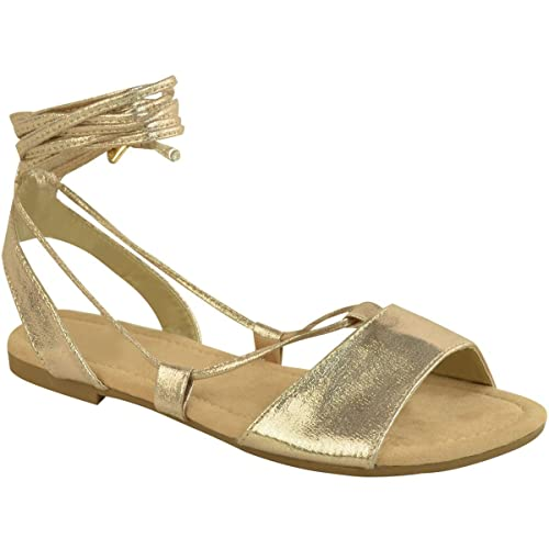 9a6b1153b Fashion Thirsty Womens Ladies Tie up Gladiator Flat Sandals Strappy Summer Metallic  Shoes Size