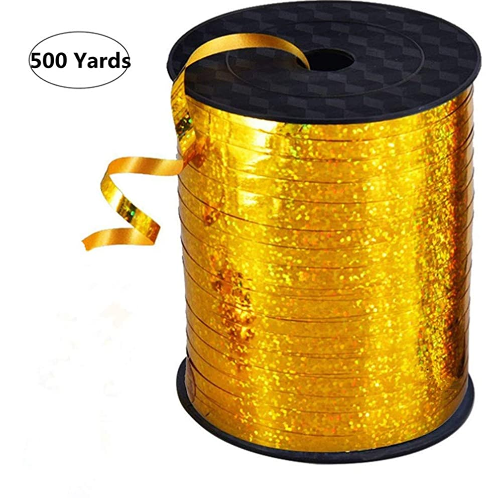 500 Yards Shiny Curling Ribbon Metallic Balloon Roll for Festival Art Craft Decor,Party Decorations, Florist and Gift Wrapping (Golden)