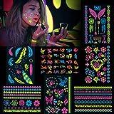 Konsait 7 hojas neón tatuaje temporal para adultos hombres mujeres niños UV Luz Negra Fluorescente maquillaje Pintura Cuerpo Cara Tatuaje para fiesta mano cuello espalda muñeca