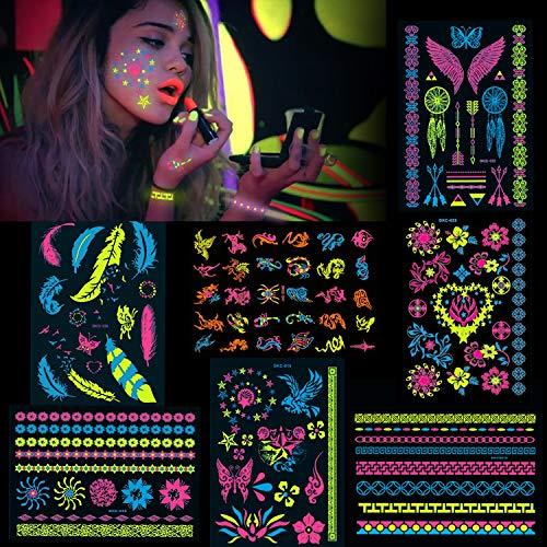 Konsait 7 groß Blätter Klebetattoos temporäre Neon Tattoos schwarzlicht schminke UV Body & Face Painting Tätowierung Aufklebe für Frauen männer, Accessoire für Schwarzlicht UV Party & Festivals
