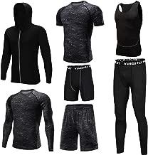 AUMING Funktionswäsche Set Männer Gymnastik-Kleidung 7-teilige Sets mit Outwear Compression Enge Hose 3er-Pack Tshirt 2er-Pack Shorts für Laufen Radfahren Yoga (Color : Black, Size : XXXXL)