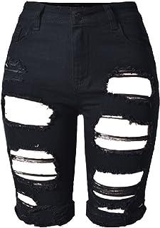 U-WARDROBE Women's Denim Destroyed Mid Rise Stretchy Bermuda Shorts Jeans Plus Size Black 3XL