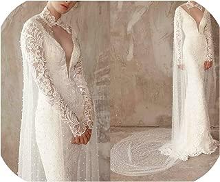 Bridal Wraps Lace Applique Beads Length Wedding Cape Shawls White and Ivory Bridal Jacket