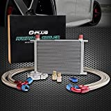 25 Row AN10-10AN Universal Engine Transmission Oil Cooler Kit + Oil Filter Relocation Kit Silver