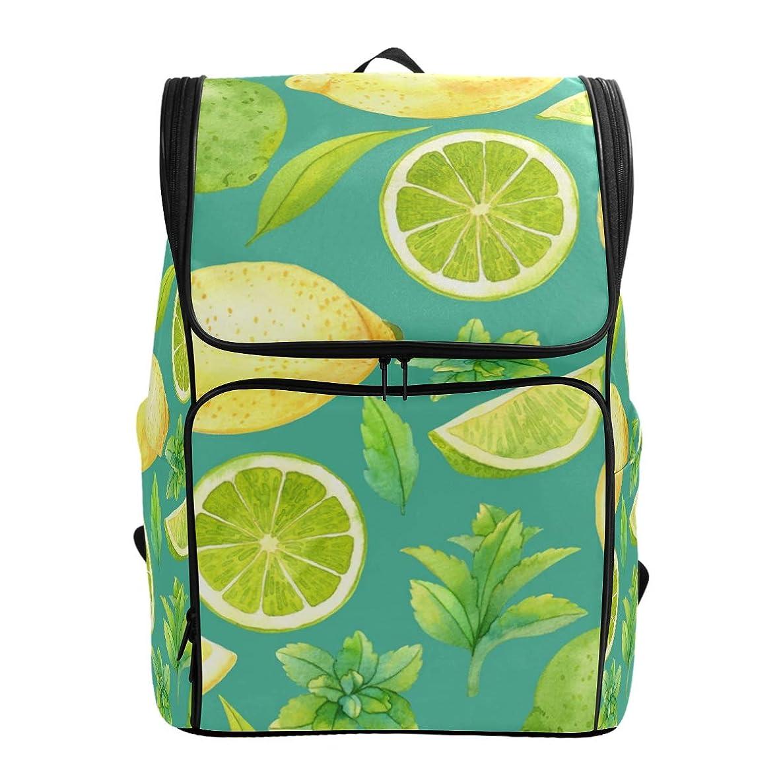 従事する裏切り者ボトルマキク(MAKIKU) リュックサック 大容量 レモン柄 グリーン 果物 リュック 軽量 メンズ 登山 通学 通勤 旅行 プレゼント対応