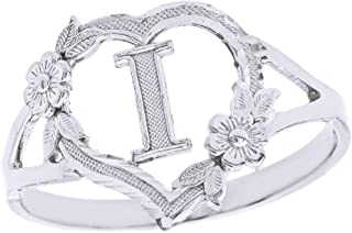 CaliRoseJewelry Silver Initial Alphabet Personalized Heart Ring - Letter I