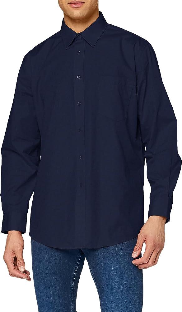 fruit of the loom camicia da uomo a maniche lunghe 55% cotone 45% poliestere 65-118-2