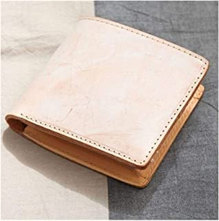 Men's Handmade Wallet Leather Fog Wax Head Layer Leather Short Vegetable Tanned Leather Clutch (Color : Yellow, Size : S)