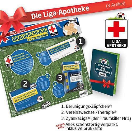 Geschenk-Set: Die Liga-Apotheke für Einracht Braunschweig-Fans | 3X süße Schmerzmittel für Braunschweig Fans | Die besten Fanartikel der Liga, Besser als Trikot, Home Away, Saison 18/19 Jersey