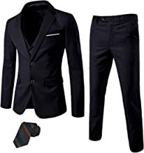 MY'S Men's 3 Piece Slim Fit Suit Set, 2 Button Blazer Jacket Vest Pants with Tie, Solid Wedding Dress Tux and Trousers