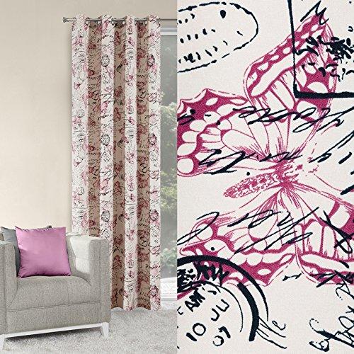 Rideau à oeillets 140 x 250 cm Peggy Crème Violet avec motif Salon moderne Opaque 60%