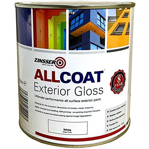 Zinsser Allcoat Exterior Water Based Paint Gloss White - 2.5 Litre