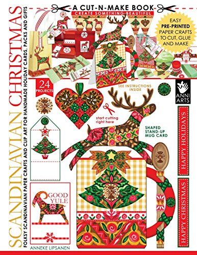 Scandinavian Christmas Cut-n-Make Book: Folksy Scandinavian Paper Crafts and Clip Art for Handmade Holiday Cards, Packs and Gifts (Volume 2)