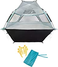 SuitedNomad XL Instant Beach Shade Tent with Sand Free Extendable Porch - Portable SPF UV Pop Up Sun Shelter Canopy with Easy Set Up and Windproof Construction