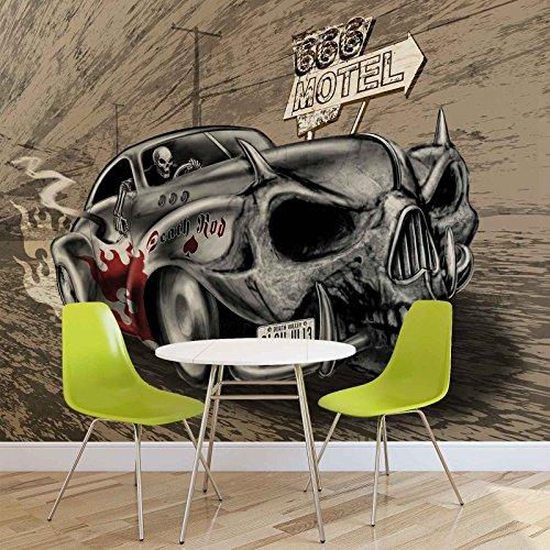 Alchemy Death Hot Rod Auto Totenkopf - Forwall - Fototapete - Tapete - Fotomural - Mural Wandbild - (2329WM) - XXL - 312cm x 219cm - VLIES (EasyInstall) - 3 Pieces