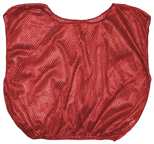 Champion Sports Adult Mesh Practice Scrimmage Vest, Red (Pack of 12)