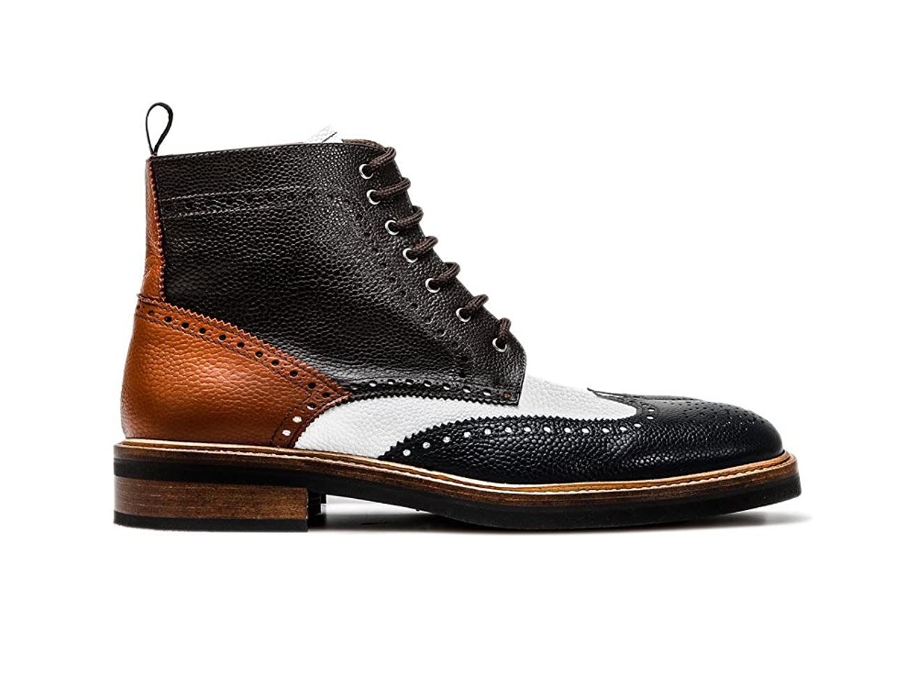 Customized Shoes - Multicolor Leather Wing Brogue Ankle Boot - Man