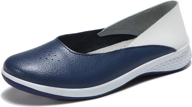 Women Leather Loafers Cutout Ballet Flats Flat Nursing shoes Woman Slip On Loafers slipony