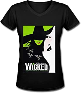 Fashion Women's V-Neck Tee Wicked The Musical Designs Tops tee Funny Cotton T-Shirt