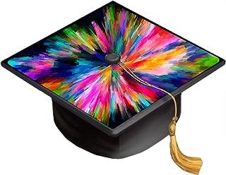 Rainbow Abstract Color Colors Splash Grad Cap Decal - Vinyl Sticker Skin for Graduation Caps