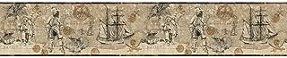 York Wallcoverings ZB3102BSMP Boys Will Be Boys II Pirate Map 8-Inch x 10-Inch Memo Sample Wallpaper-Borders, Deep Linen Beige/Soft Sand Beige/Gray