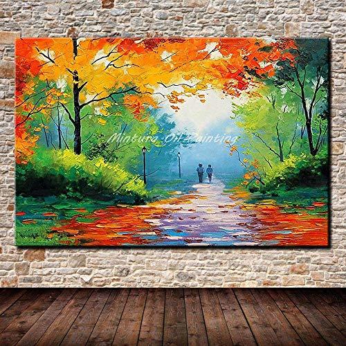 Timor Dekorative Malereiabstrakte Palette Messer Herbst Landschaft Ölgemälde auf Leinwand Modernes Wandbild Handgemaltes dekoratives rahmenloses Home Decoration Wohnzimmer Schlafzimmer, 28X44