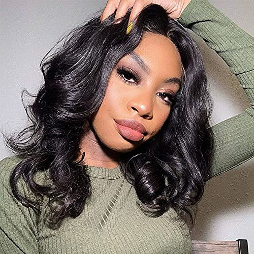 18 Inch Glueless Body Wave Lace Front Wig Human Hair 4x4 Pre Plucked Brazilian Body Wave Lace Closure Wigs with Baby Hair 9A Natural Brazilian Closure Body Wave Wig 150% Density Virgin Lace Wig