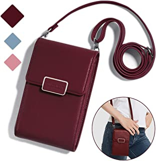 iPhone X Case, iPhone 8 Plus Case,Kudex Small Crossbody Messenger Bag Cell Phone Pouch Purse Handbag Zipper Wallet with Shoulder Strap for Women Girls for iPhone/Samsung/Huawei Below 6.7 Inch (Wine)