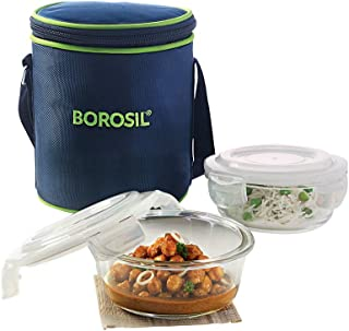 Borosil Glass Lunch Box Set of 2, 400 ml, Vertical, Microwave Safe Office Tiffin