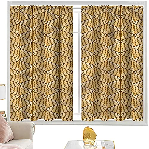 Cortinas Marrón, diseño de azulejos de cerámica Lisboa W52 x L54 pulgadas cortinas opacas con bolsillo para barra