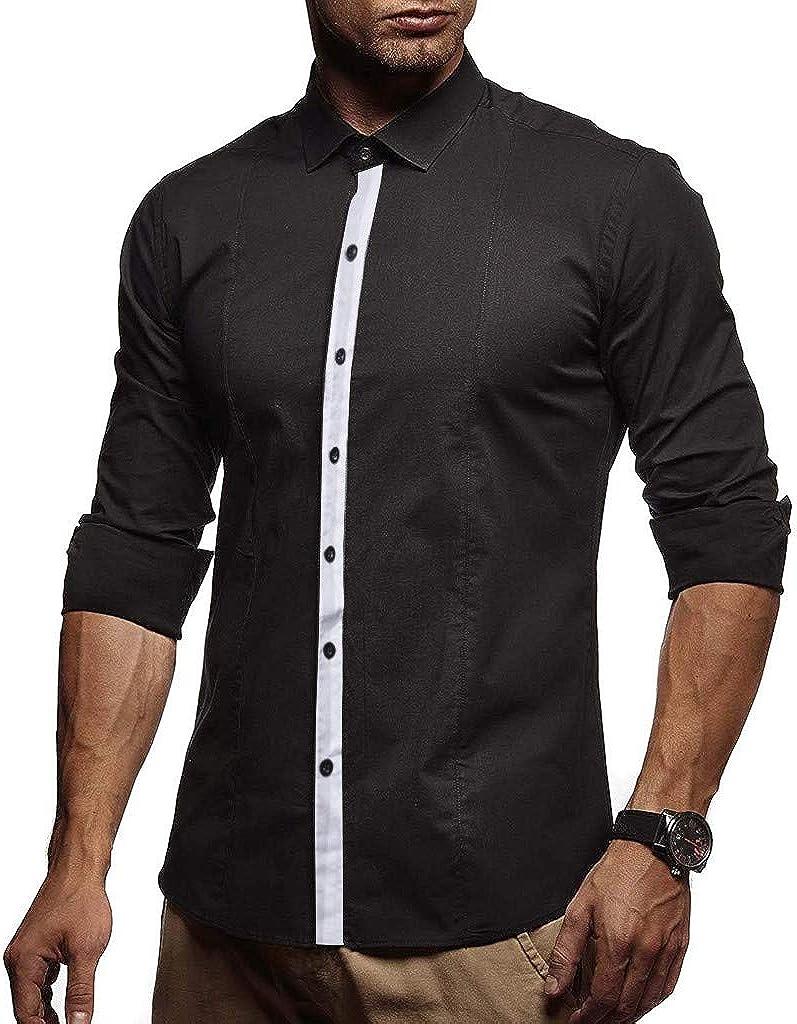 MODOQO Men's Shirt Slim Fit Solid Button Down Collar Business Dress Shirt