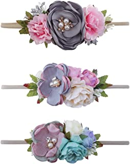 Delebao Baby Girls Floral Headbands Nylon Flowers Crown Hair Bow Elastic Bands for Newborn Infant Toddlers Kids Pack of 3
