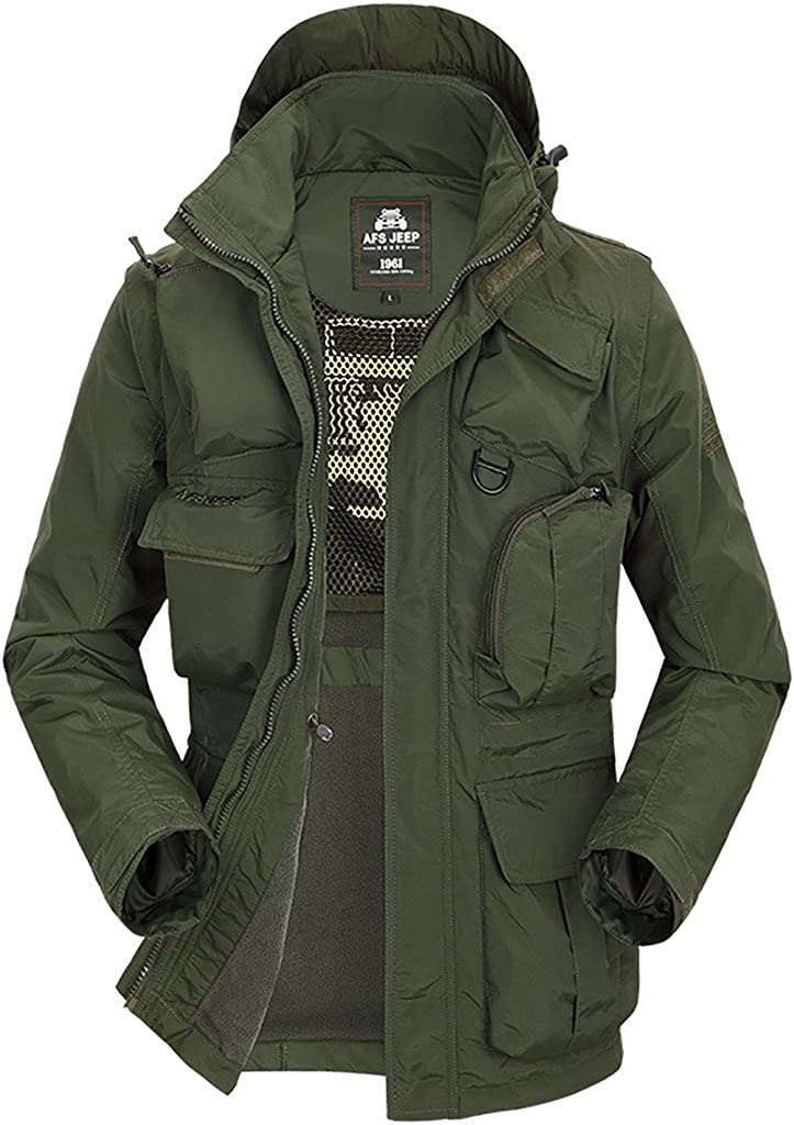 QZUnique Men's Big&Tall Cotton-Padded Jacket Hooded Coat with Detachable Sleeves Army Green