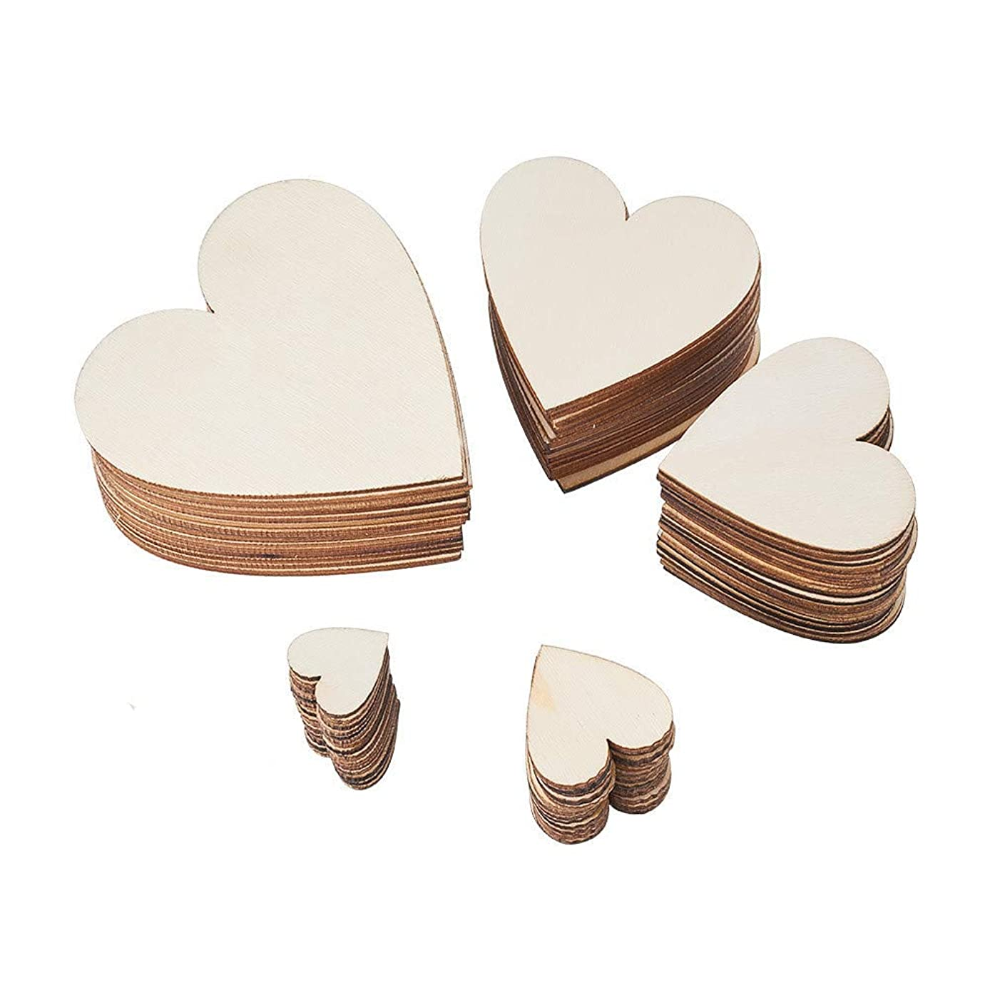 BENECREAT 200PCS 5 Assorted Size Christmas Blank Wood Hearts Embellishments Wood Hearts Slices for Wedding, Valentine, DIY, Arts, Crafts, Card Making