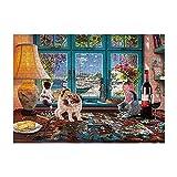 Carolui Puzzle 1000 Teile, Tier Gebäude Landschaft Puzzle für Erwachsene und Kinder ab 14 Jahren(Katze)