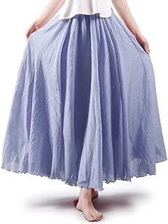 OCHENTA Women's Bohemian Elastic Waist Cotton Floor Length Skirt, Flowing Maxi Big Hem