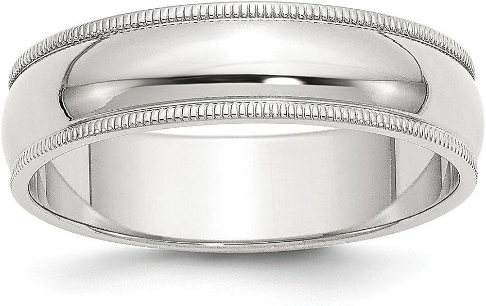 Solid 2020春夏新作 925 Sterling Silver 6mm Band 営業 Half Wedding Round Milgrain