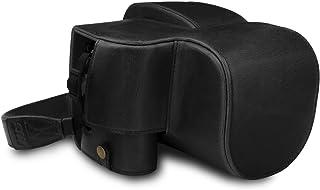 MegaGear MG1678 någonsin färdigt läderfodral kompatibelt med Leica V-Lux 5, Panasonic Lumix DC-FZ1000 II – svart