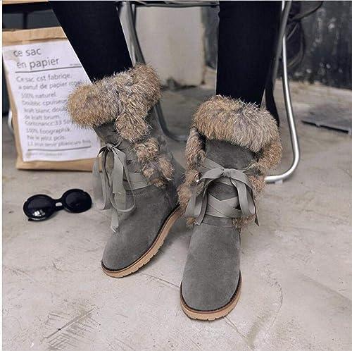 ZHRUI Stiefel para damen - Stiefel de Nieve Planas Antideslizantes Planas Stiefel Cortas para Estudiantes Cordones más Terciopelo schuhe de algodón Grueso   32-39 (Farbe   grau, tamaño   39)