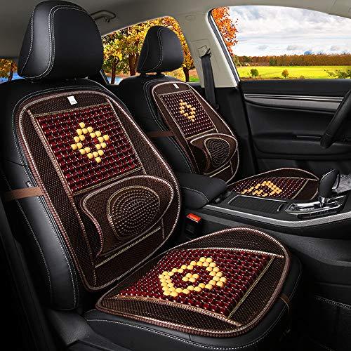 GLITZFAS Autositzauflage Universal Sommer- Holzkugeln Kissen Atmungsaktiv Massage Gemütlich Allgemeiner Zweck Autositzkissen (Brown, 48 * 98cm)