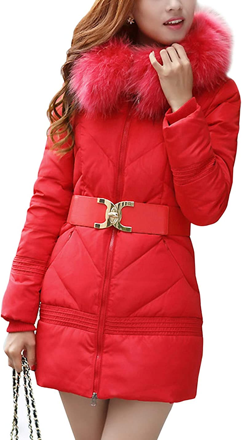 Women's Quilted Puffer Jacket Belted Padded Coat with Faux Fur Trim Hood (Red, Medium)