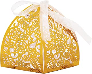 KAZIPA 50pcs Laser Cut Candy Boxes,Gold Favor Boxes 2.6''x2.6''x2.8'', Wedding Favor Boxes for Bridal Shower Anniverary Birthday Party Wedding Favor, Gold