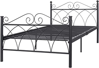 """Twin Size Bed FrameBlack Steel Metal Bed Platform Foundation Sturdy and Durable Furniture New 78""""x42""""x34"""" by madamecoffee"""