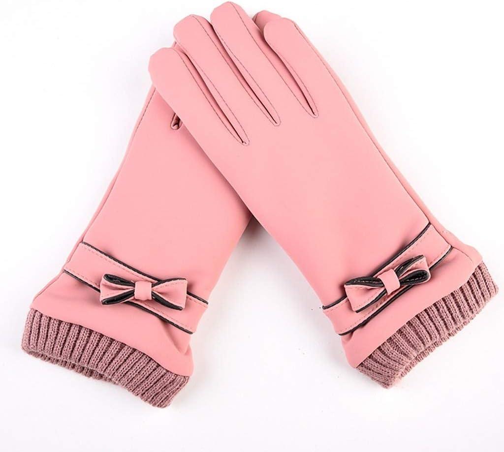 JEONSWOD Fashion Winter Women Gloves Windproof Internal Plush Warm Lady Mittens Touch Screen Skin-friendly Soft PU Leather Female Gloves