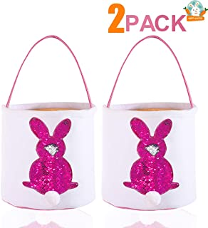 2 Pcs Easter Bunny Basket Bag, Sequins Rabbit Design with Fluffy Tail, Egg Hunt Basket for Kids Bunny Canvas Tote Party's Decoration, Eggs Candy and Gifts Carry Bucket (Aubergine)